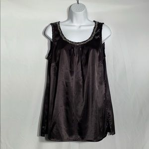 Chico's Black Tank Top with Silver Sequins